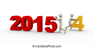 3d people working on new year 2015 - 3d illustration of man...