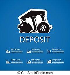 deposit bank icons design