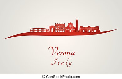 Verona skyline in red and gray background in editable vector...