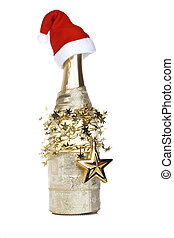 Christmas decoration and champagne bottle with red hat...
