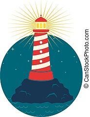 lighthouse - Illustration of a lighthouse in dark background