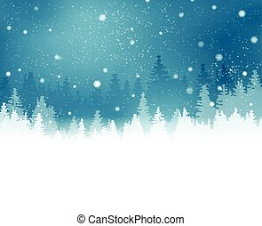 Winter landscape with fir trees and snowfall
