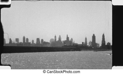 Chicago Skyline. (Vintage 1930s) - Chicago skyline taken...