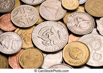 Background of assorted coins.