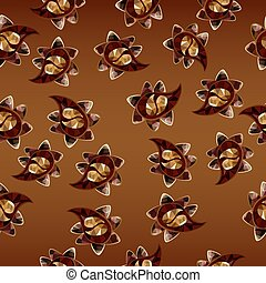 Seamless polygonal Paisley on a chocolate background