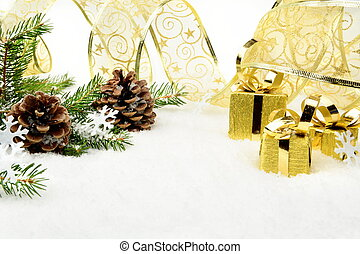 Gold christmas gifts,snowflakes with gold ribbon and needles...