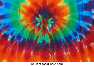 Tie Dye Pattern - Bright colored tie dye design on fabric.
