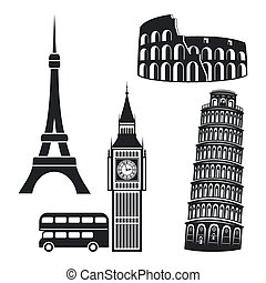 Cities symbols - Famous landmark. Black silhouettes on white...