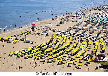 Beach - Top view on a sandy beach in Rimini, Italy
