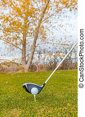 Teed Up in Fall - a golf ball on tee with driver in fall