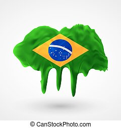 Flag of Brazil painted colors
