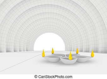 color flames and rest white diya in 3d - conceptually happy...