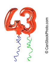 Red balloons with ribbon - Number 43