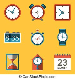 Flat icon set. Time. Clock. Vector illustration in eps10