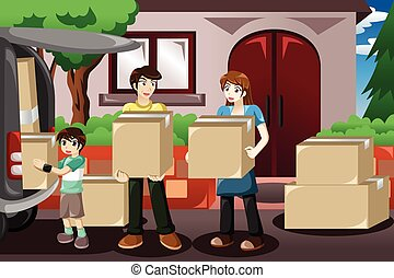 Family moving house - A vector illustration of happy family...