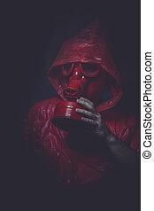 Ebola, infecção, conceito, homem, com, vermelho, gás,...