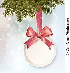 Christmas background with a label and a bow. Vector.