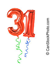 Red balloons with ribbon - Number 31