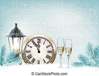 Holiday retro background with champagne glasses and clock...