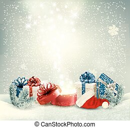 Christmas holiday background with presents and magic box....