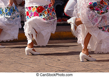 Folkloric dancers in Mexico - Folkloric dancers during a...
