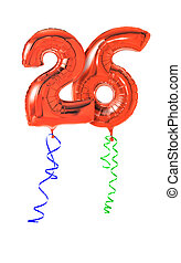 Red balloons with ribbon - Number 26