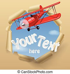Airplane with a banner - Vintage red airplane with torn...