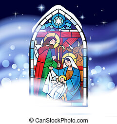 Christmas greeting card - Stained glass window depicting...