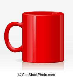 Red cup - Isolated empty ceramic red cup on white...