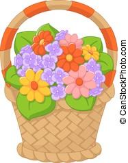 Flowers in a basket - Bouquet of flowers in a wicker basket