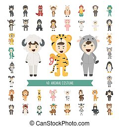 Set of 40 Animal costume characters , eps10 vector format