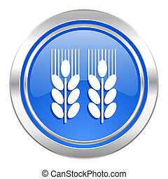 agricultural icon, blue button