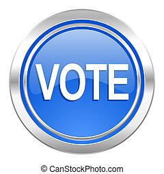 投票, アイコン, ボタン, 青
