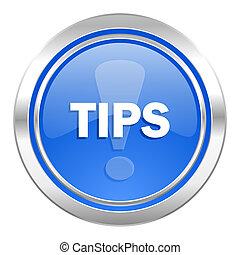 tips icon, blue button