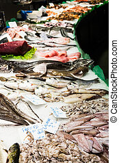 La Boqueria - Fresh fish stall in the Boqueria Market,...