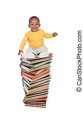 Smiling baby on a high tower books