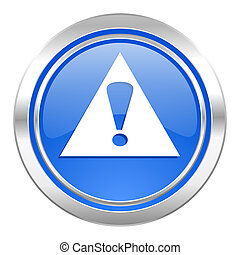 exclamation sign icon, blue button, warning sign, alert symbol