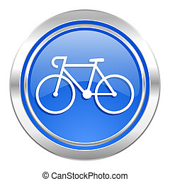 bicycle icon, blue button, bike sign