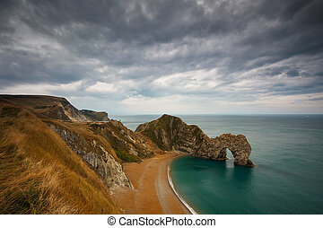 Durdle Door in Dorset, UK - Durdle Door on Jurassic Coast in...