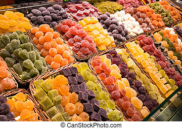 La Boqueria - Candy shop in La Boqueria, the most famous...