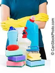 Plastic detergent bottles with sponges