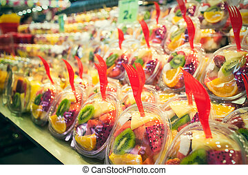 La Boqueria - Fruits and vegetables stall in La Boqueria,...