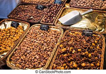 La Boqueria - Dry fruits in La Boqueria, the famous market...