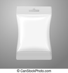 Blank white plastic sachet with hanging hole on the cash and...