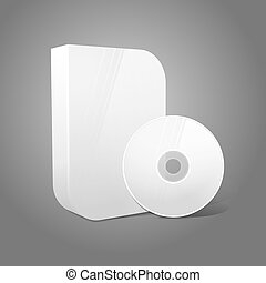 White realistic isolated DVD, CD, Blue-Ray smooth shaped case with disk on grey background.