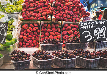 La Boqueria - Strawberry stall in La Boqueria, the most...
