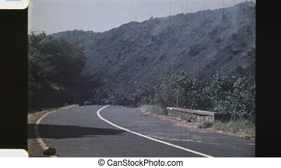 End of the road. (Vintage 1970s) - Advancing lava rock...