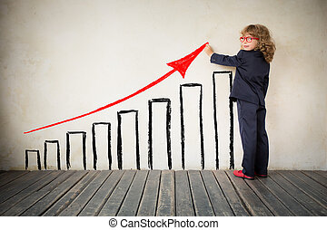 Chart graph - Portrait of young businessman in modern loft...