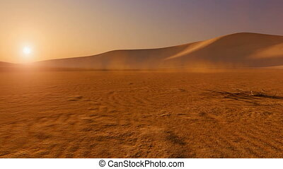 Movement through desert at sunset - Movement through the...