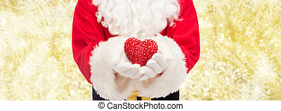 close up of santa claus with heart shape - christmas,...